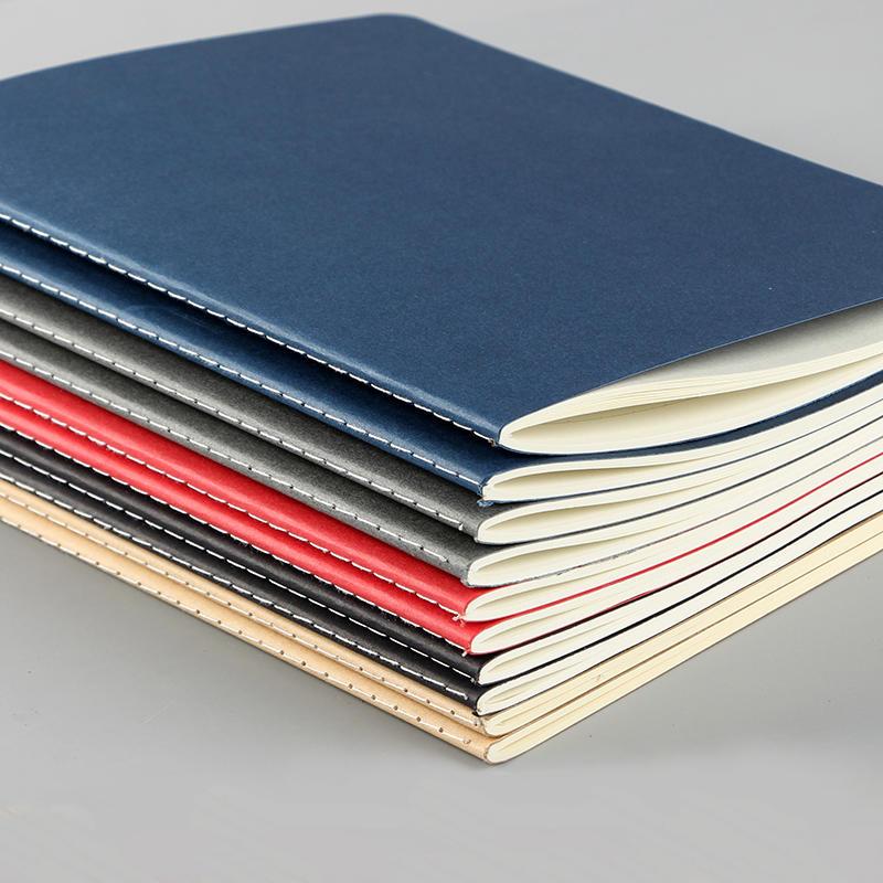 Soft kraft paper cover a6 notebook sew binding journal A5 grid notebook