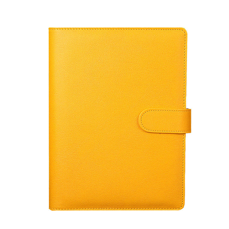 Custom pu leather cover notebook a5 binder logo lined notebook