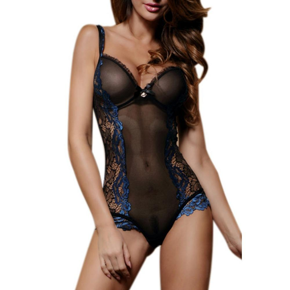 Lace transparent style with front bow detail teddy lingerie