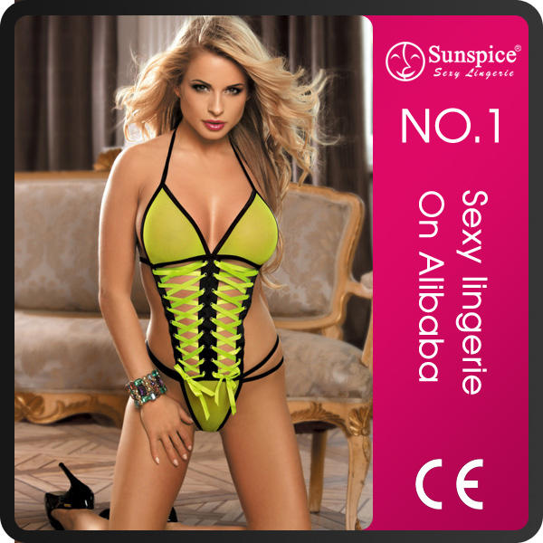 Sunspice hot sale sexy lace teddy lingerie with ribbon.
