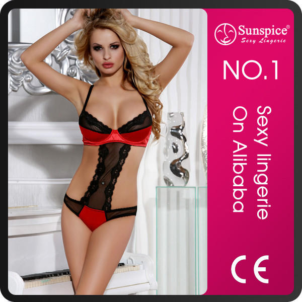 wholesale sexy satin silk sleep teddy lingerie with lace pattern for lady