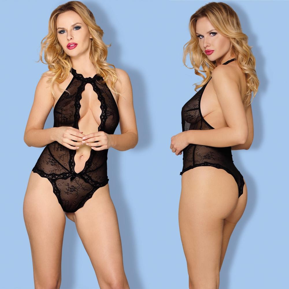 women black floral lace trimmed halter deep V neck backless adult intimate teddy bodysuit