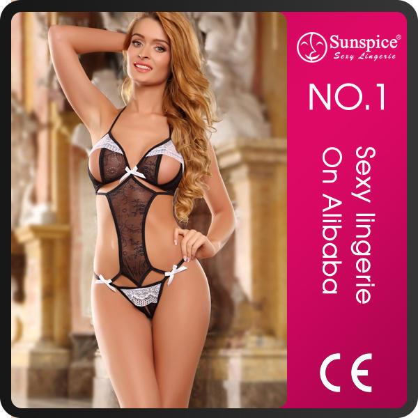 2015 hot sale Sunspice sexy open cup floral lace halter teddy baby girls tube lace sexy babydoll lingerie