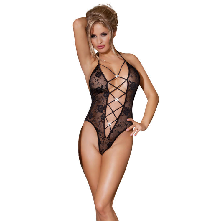 Sunspice hot sale sexy floral halter ladies adult teddy sexy lingerie