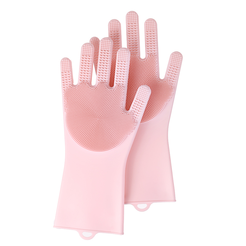 thin waterproof heat resistant kitchen reusable cleaning brush silicone dishwashing gloves