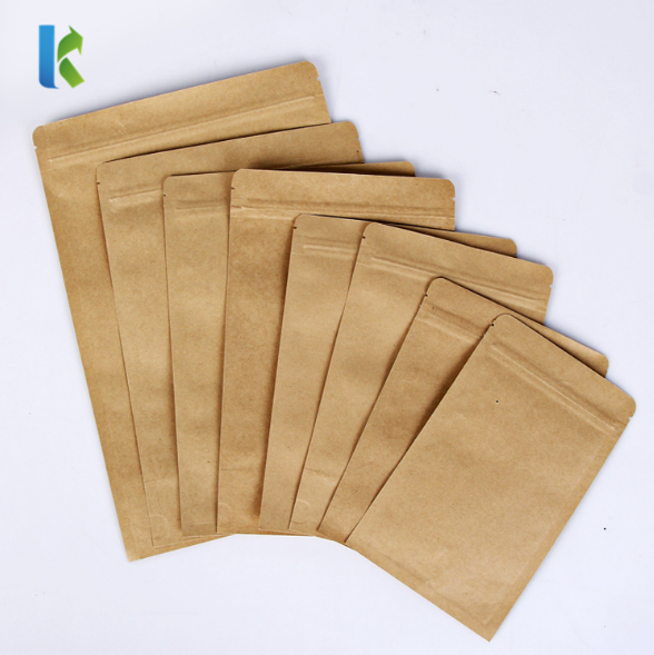 recyclable kraft paper custom resealablezipper bag