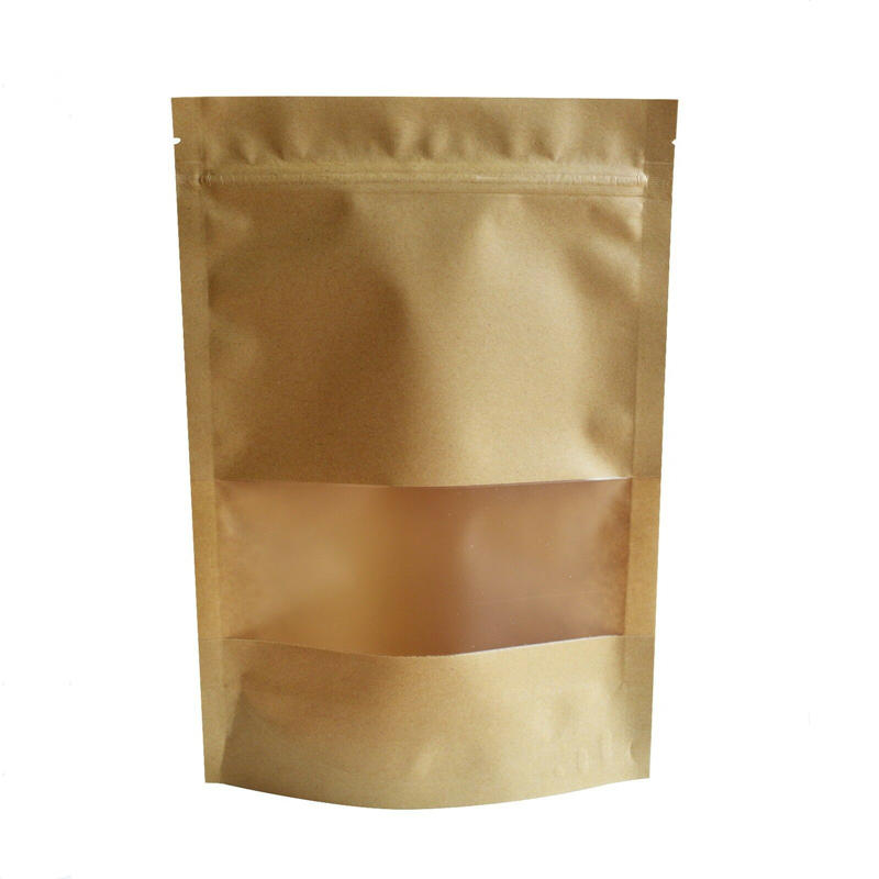factory price wholesale frosted open window standing up zipper brown kraft paper bag