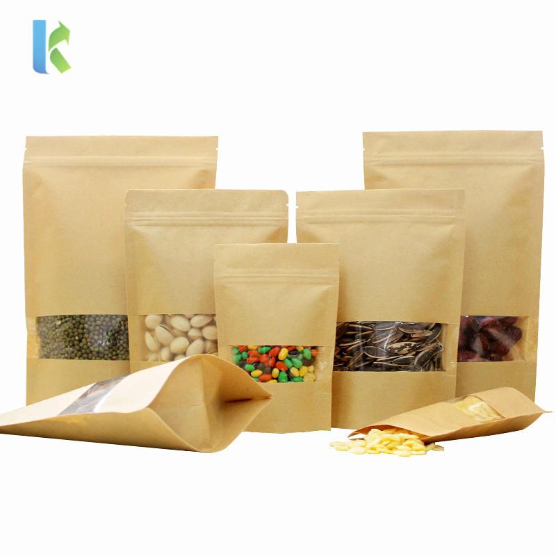 wholesale high definition open window standing up zipper brown kraft paper bag
