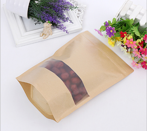 Wholesale Kraft Paper Stand Up Pouch Zip Lock Bag With Frosted Window