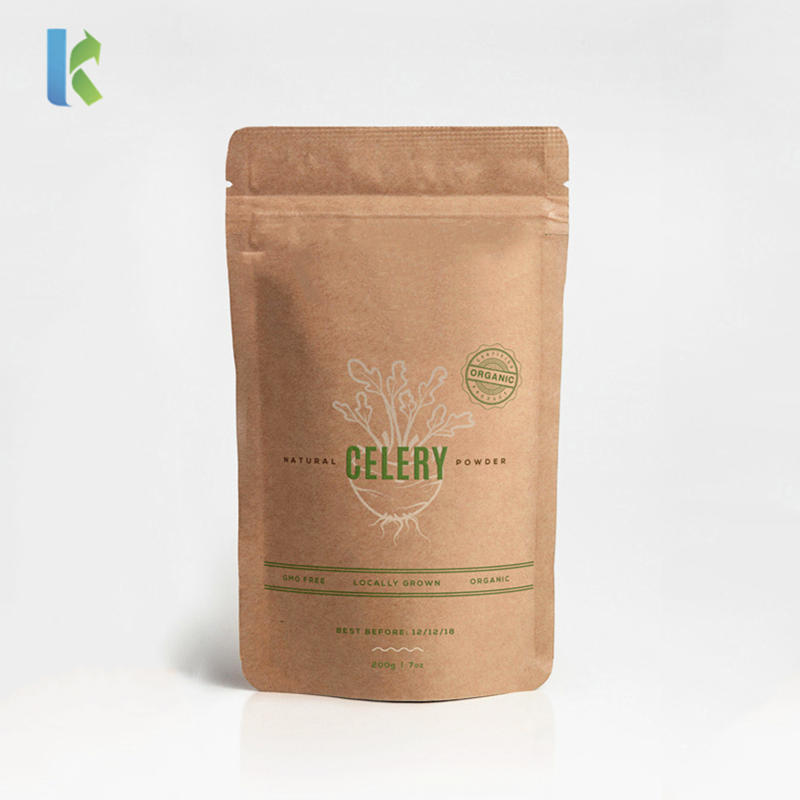 wholesale customlized logo printing kraft paper bag with zipper for food