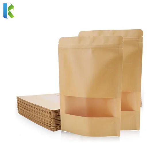 wholesale food gradehot sale factory transparent kraft paper stand up pouch with window