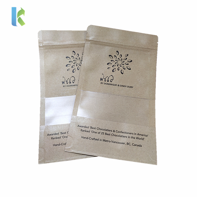 Custom Snack Nut Packing Biodegradable Stand Up Pouches Kraft Paper Zipper Bag With Window For Food Packaging
