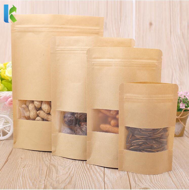 wholesale factory price kraft paper stand up pouch with window