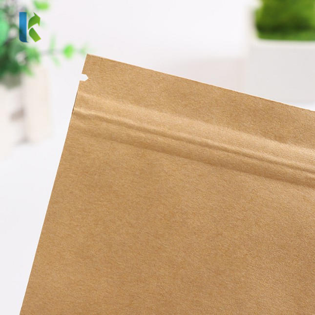 Paper Bag Self Sealing Wholesale Flat Bottom KraftFood Packaging Inner Aluminized Film Dry Fruit Seal Zipper Pouch