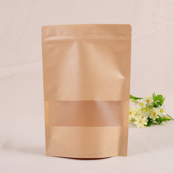 Wholesale Laminating Kraft Paper Stand Up PouchZip Lock Bag With Frosted Window