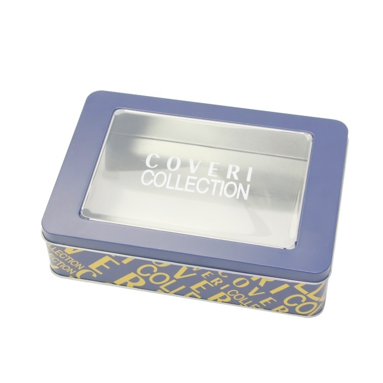 Factory Price Rectangle Gloves Packaging Tin Box Metal Scarf gift tin box With Clear Window Hinge Lid