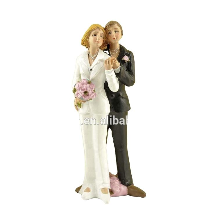 New design polyresin female gay wedding figurine cake toppers