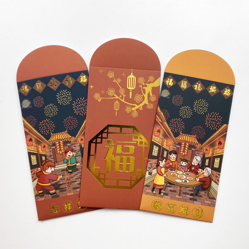 2021 Chinese New Year Gift Paper Bag Red Packet Gold Foil Paper Envelope Custom Logo