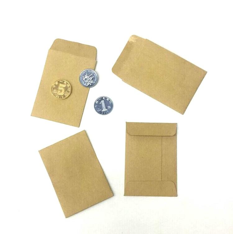 Best Selling Cheap Mini Kraft Paper Custom Coin Envelopes With Water Gule