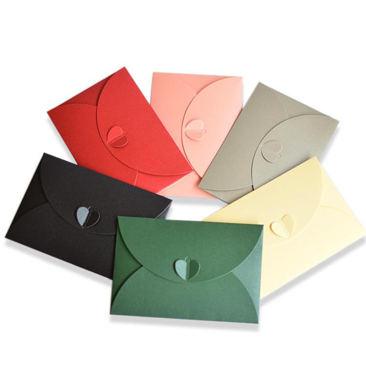 Custom Logo Red Black Pink Wedding Invitation Envelope Kraft Paper Gift Card Mini Envelope Thank You Cards with Envelope