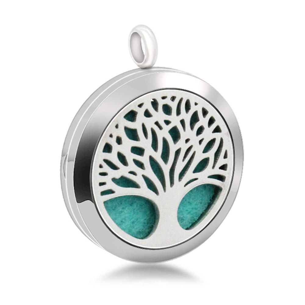 Essential Oil Aroma Necklace Open Locket Pendant, Tree Of Life Pendants Stainless Steel