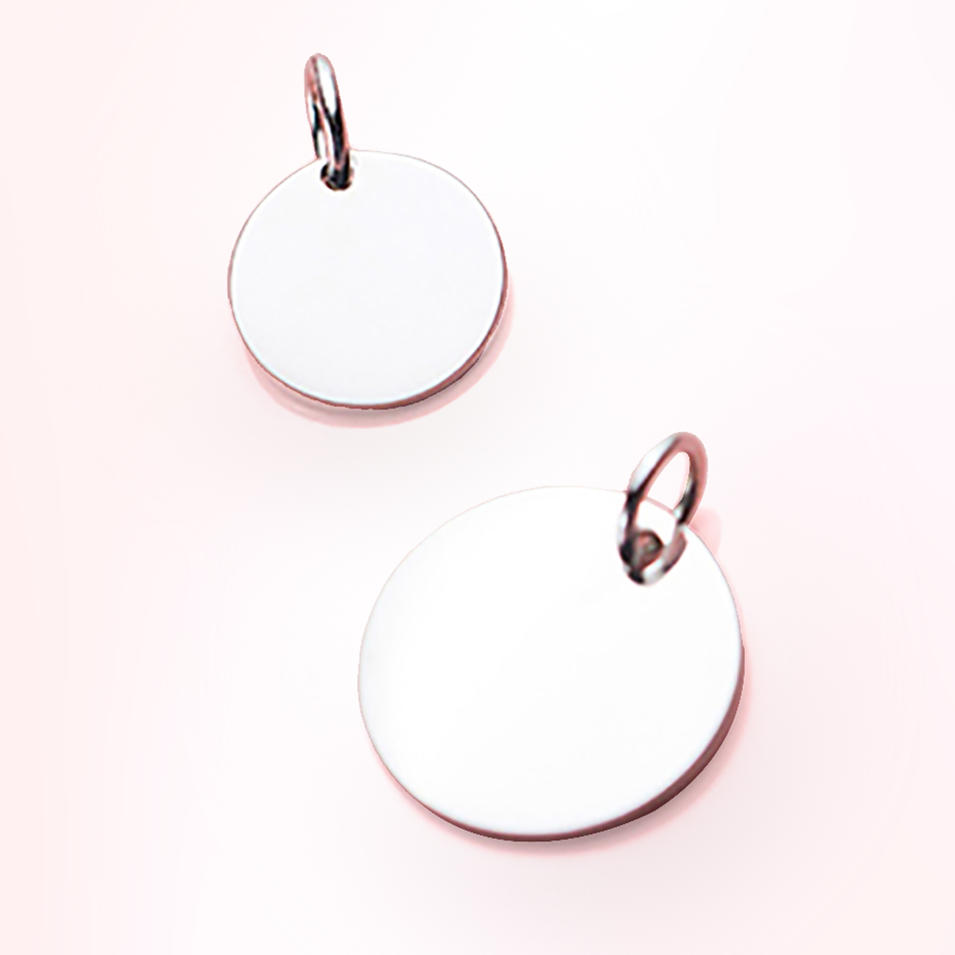 Temperament Female Fashion Simple Smooth Round Piece 925 Silver Minimalism Pendant