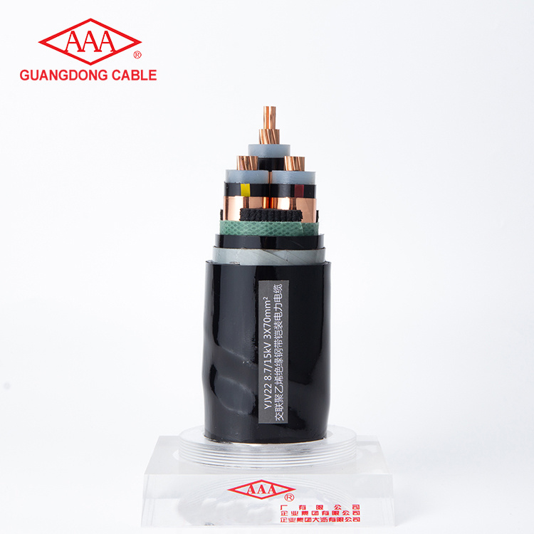 3 Core 3x70mm Copper Core Cross-linked Polyethylene Insulated Steel Band Armoured PVC Sheathed Power Cable