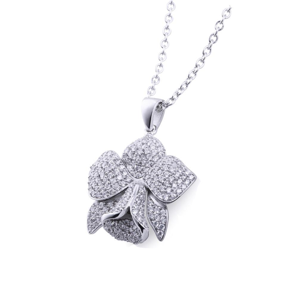 Mold Free 200 Cz Silver Enamel Flower Charm Pendant