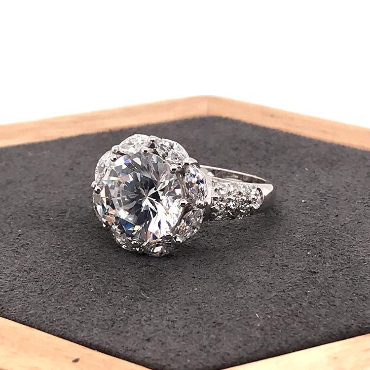 Flower Shape Moissanite Women Ring, Zircon Flower Ring 925 Silver