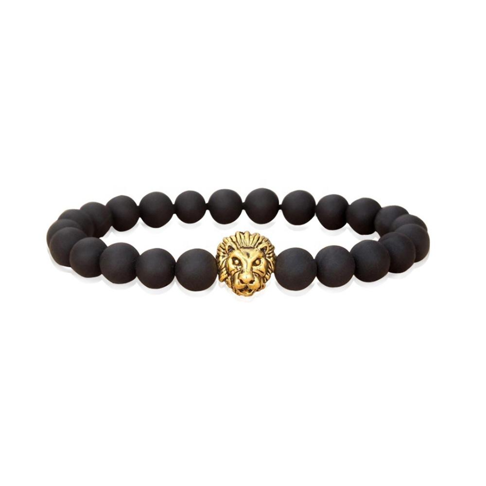 Stainless Steel Lion Head Clasp Bracelet, Men Beads Bracelet Accessories
