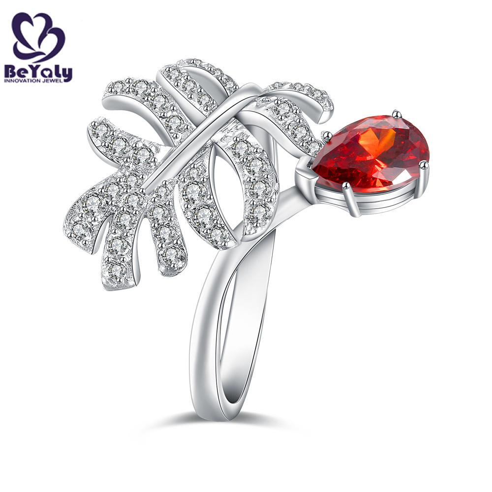 Vintage Moonstone Engagement Ring Leaf Flower Ring Silver Unisex