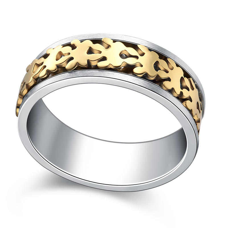 Rotatable Geometric Pattern Double Banded Mood Ring Stainless Steel