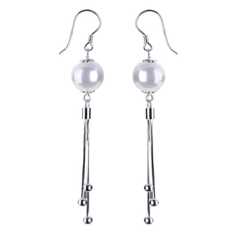 Boho Jewelry 925 Silver Tassel Earrings, Fashion Pearl Earrings Trend 2020