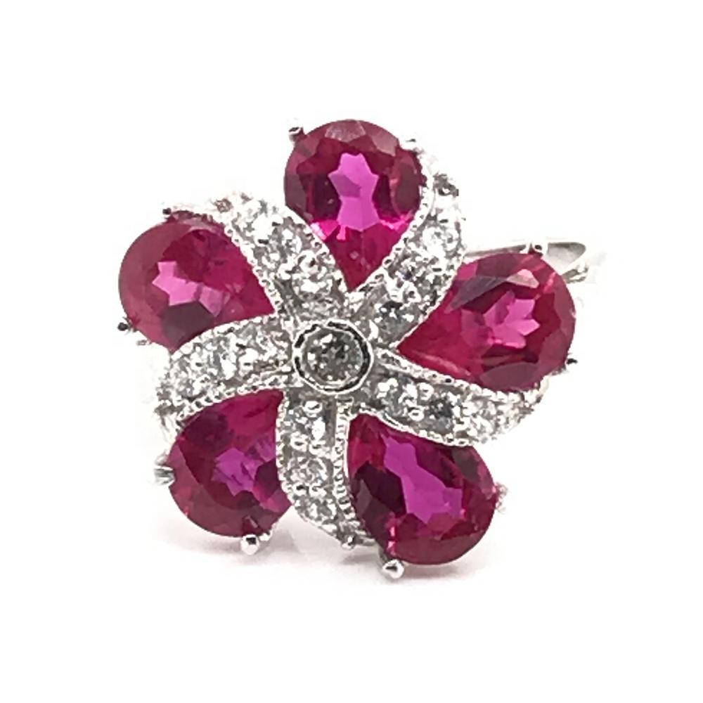 Flower Bloom Purple Gem Ring, Natural Purple Amethyst Birthstone Ring