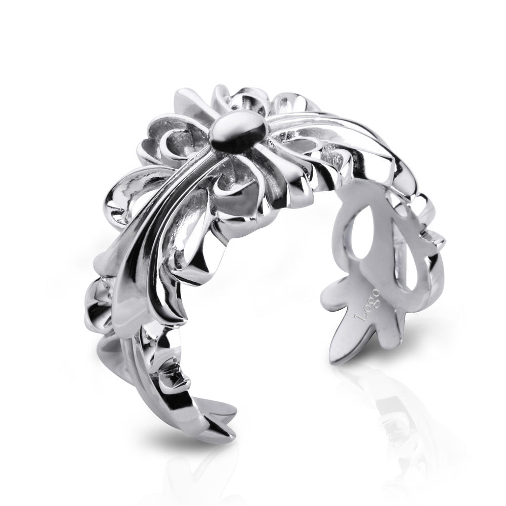 Rhodium Plating Leaf Men's Silver Rings Without CZ