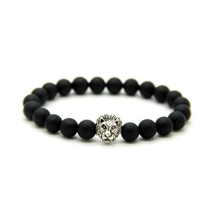 Stainless Steel Lion Head Clasp Bracelet, Men Beads Bracelet Accessories