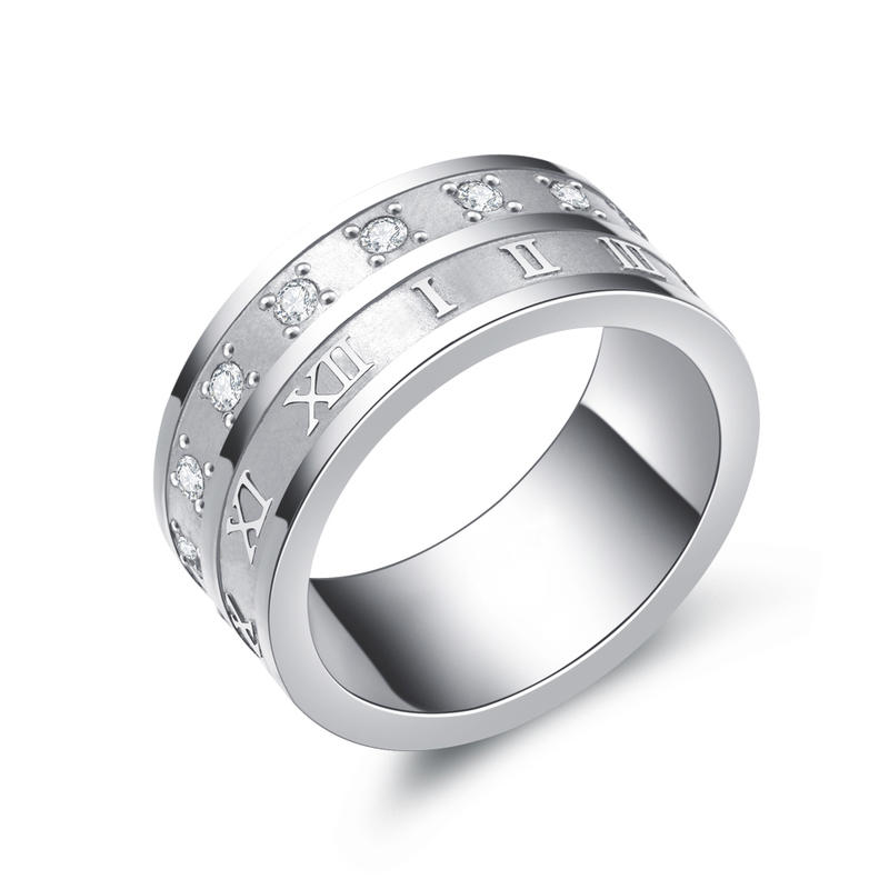 Custom Design Roman Number Rings Stainless Steel With Cubic Zircon