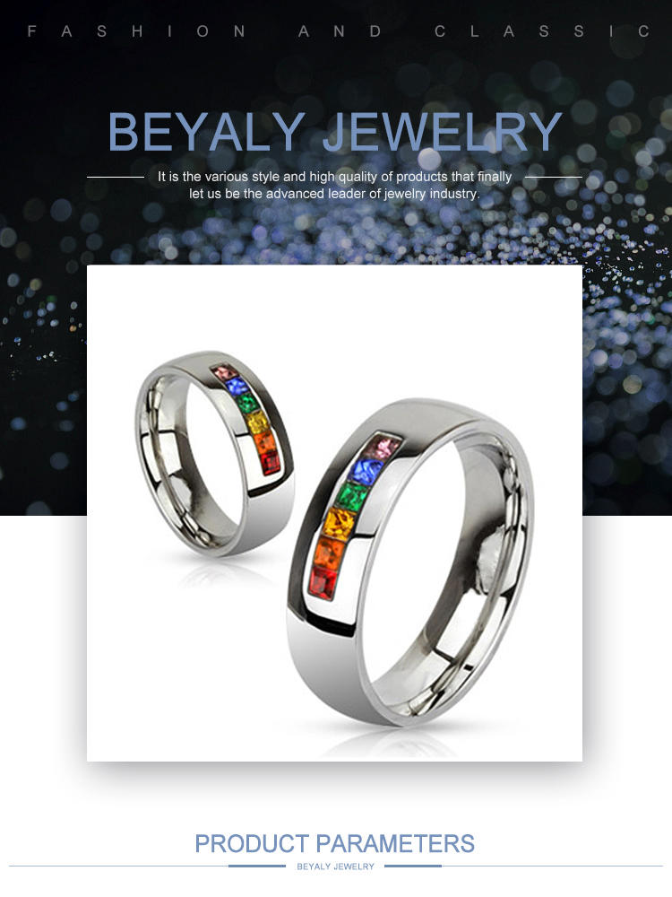 Custom Design Couple Colorful Lgbt Pulsera Ring Stainless Steel