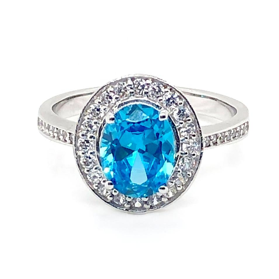 Blue Diamond Wedding Rings For Women, Silver 925 Rings Blue Topaz