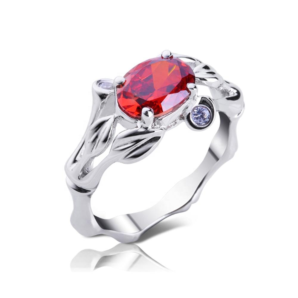 High Quality Large Stone Bamboo Design 925 Stamped Silver Ring
