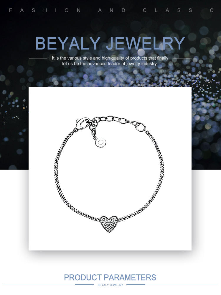 S925 Sterling Silver Love Heart Link Chain Bracelet For Women Fashion With Cubic Zirconia Fine Jewelry Gift