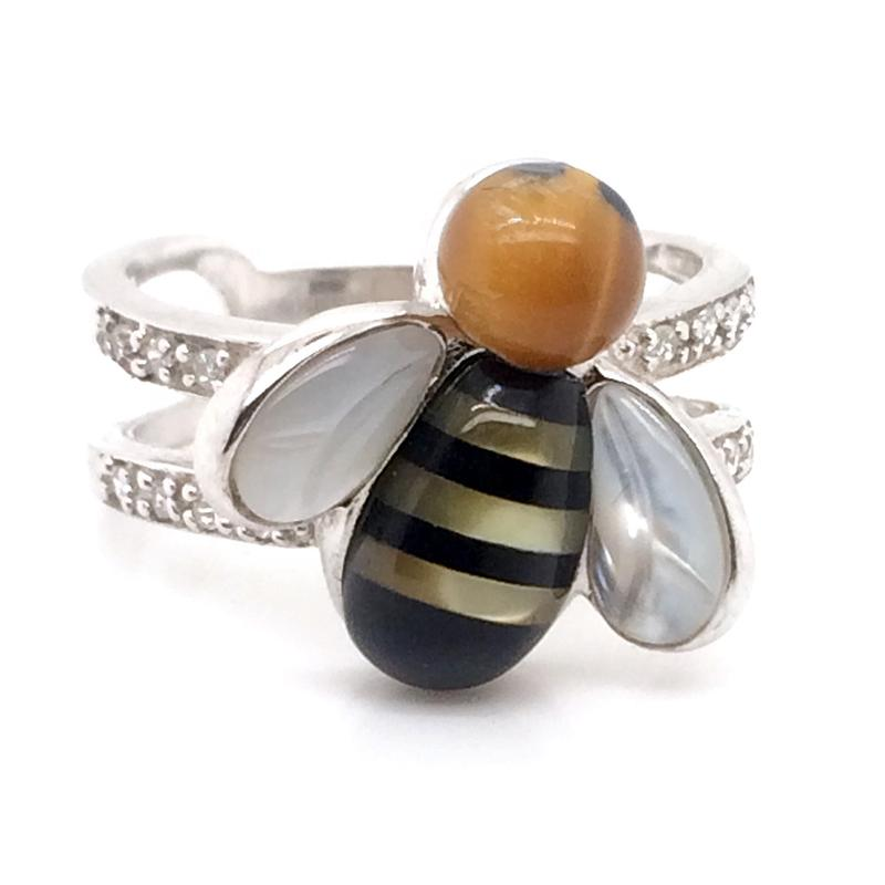 Bee Ring 925 Sterling Silver, Sea Abalone Shell 925 Cute Bee Ring