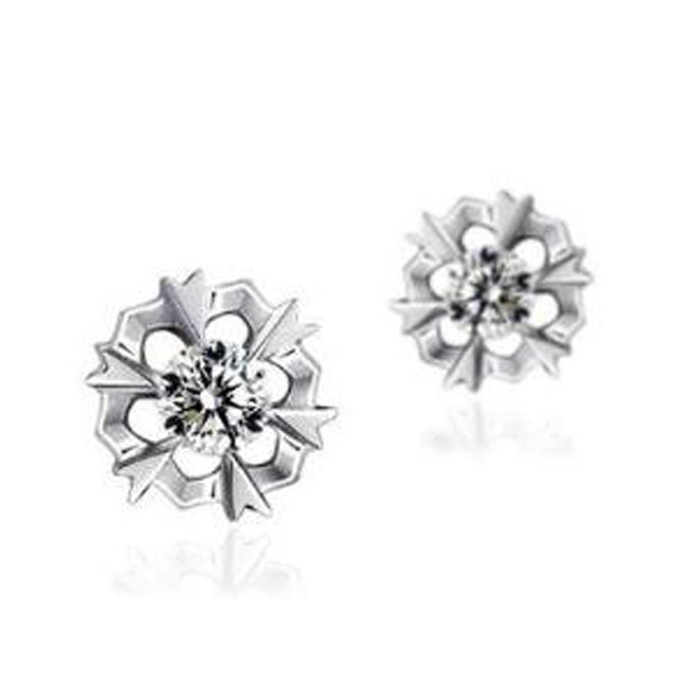 Cute 925 Silver Cubic Zirconia Snowflake Earrings Stud For Girls