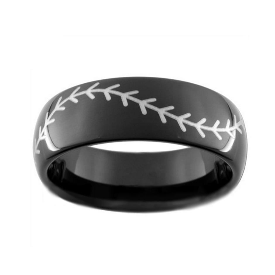 Custom Black Or Blue Baseball Ring, Inscribed Oem Tungsten Steel Ring