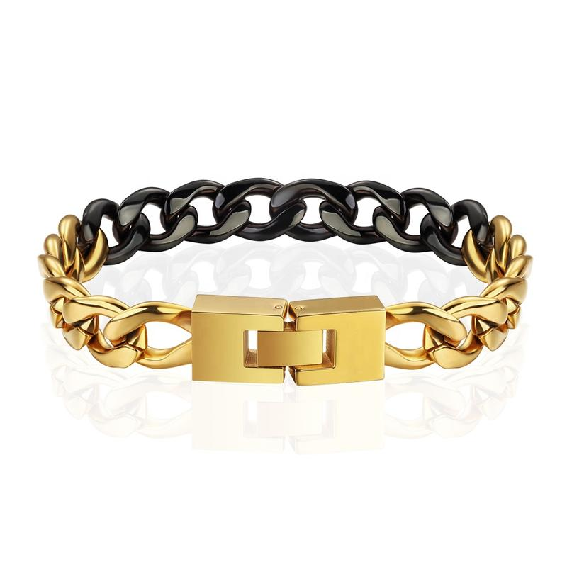 Gold And Black Plating Stainless Steel Double Plated Chain Bracelet