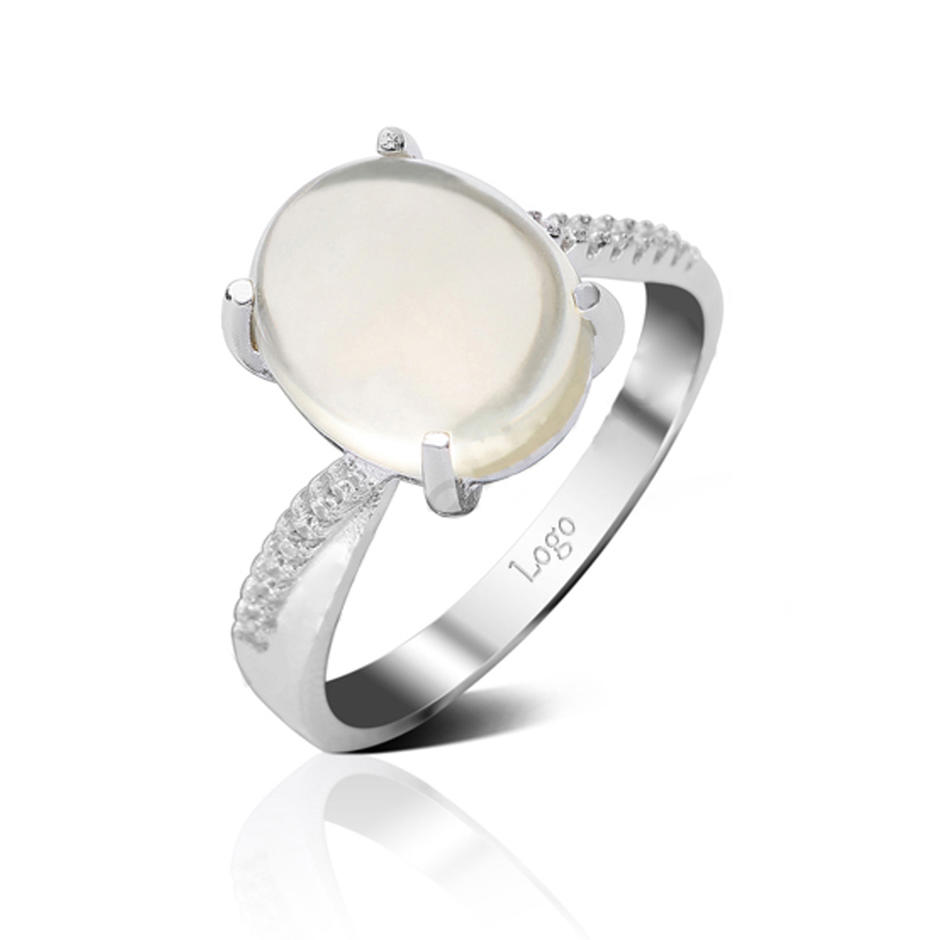 Sterling Silver Rhodium Plated Stone Rings, Semi Precious Stone Rings Women