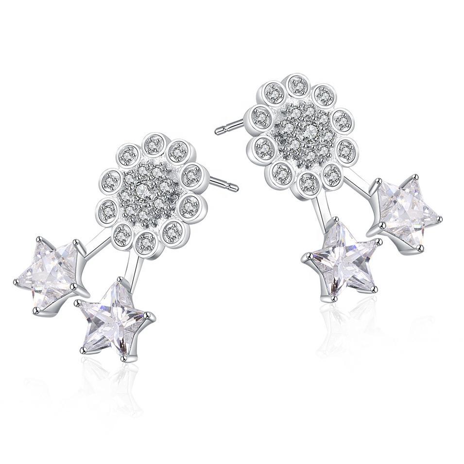 Fashion Flower And Star 925 Silver Shiny Zircon Stud Earrings