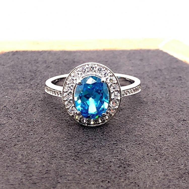 Blue Diamond Wedding Rings For Women, Silver 925 Rings Blue Topaz