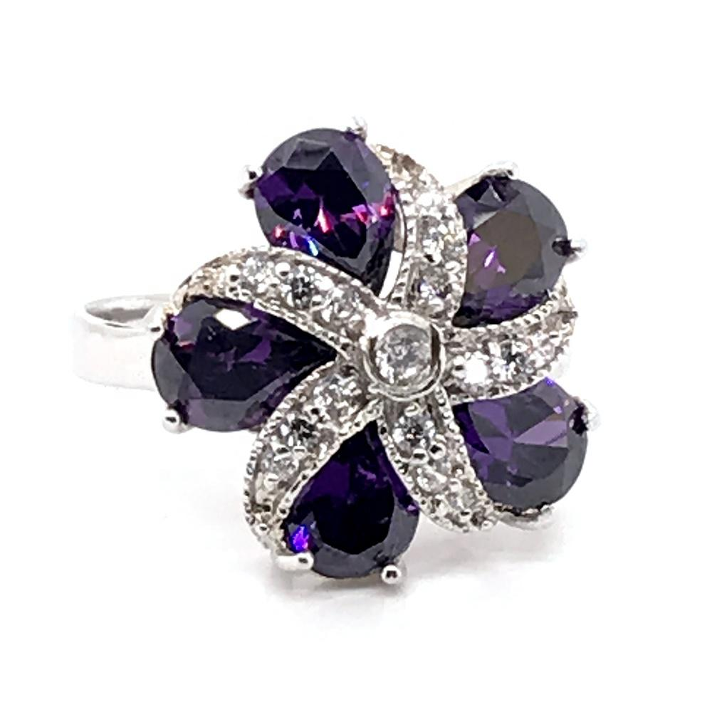 Flower Bloom Purple Gem Ring, Natural Purple Amethyst Birthstone Ring