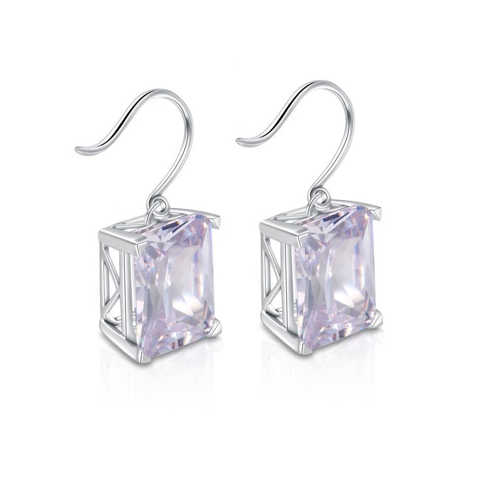 925 Silver Shiny Fashion Large Earings Rhinestone